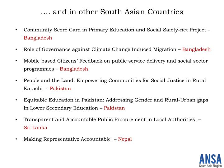 …. and in other South Asian Countries