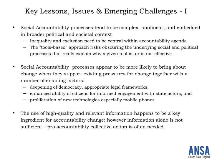 Key Lessons, Issues & Emerging Challenges - I