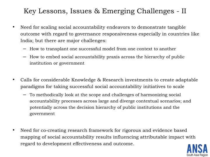 Key Lessons, Issues & Emerging Challenges - II