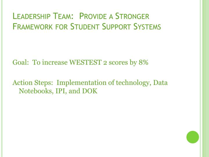 Leadership team provide a stronger framework for student support systems