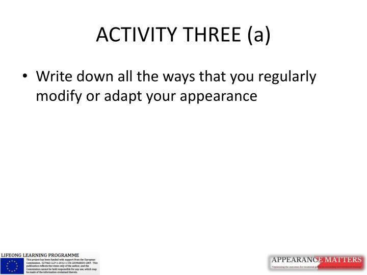 ACTIVITY THREE (a)
