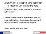 levels 0 2 of a stepped care approach is ideal for vocational trainers