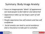 summary body image anxiety