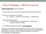peer feedback what to look for