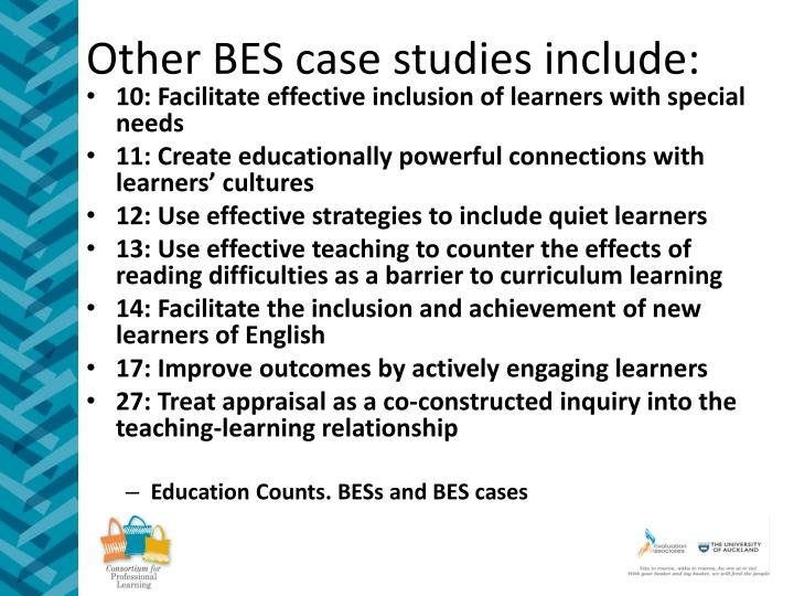 Other BES case studies include: