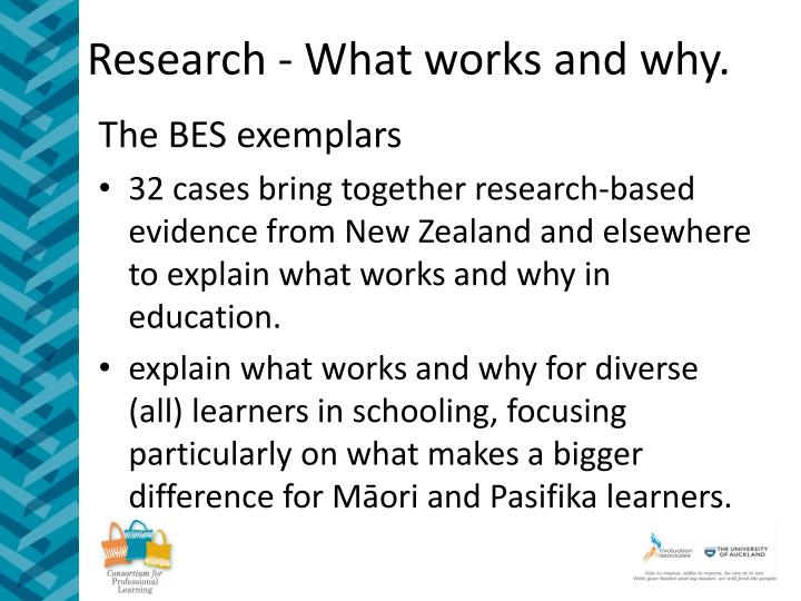 Research - What works and why.