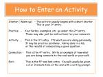 how to enter an activity