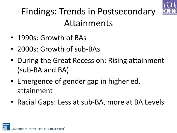 Findings: Trends in Postsecondary Attainments
