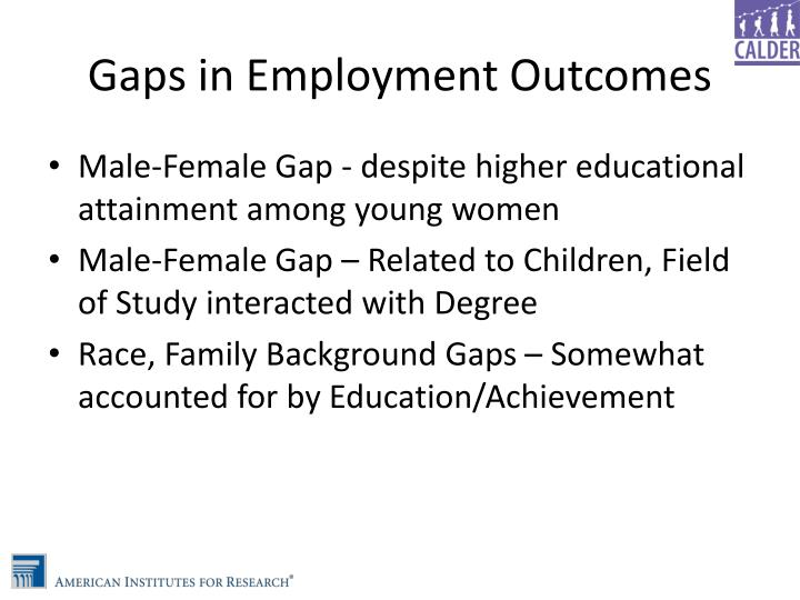 Gaps in Employment Outcomes
