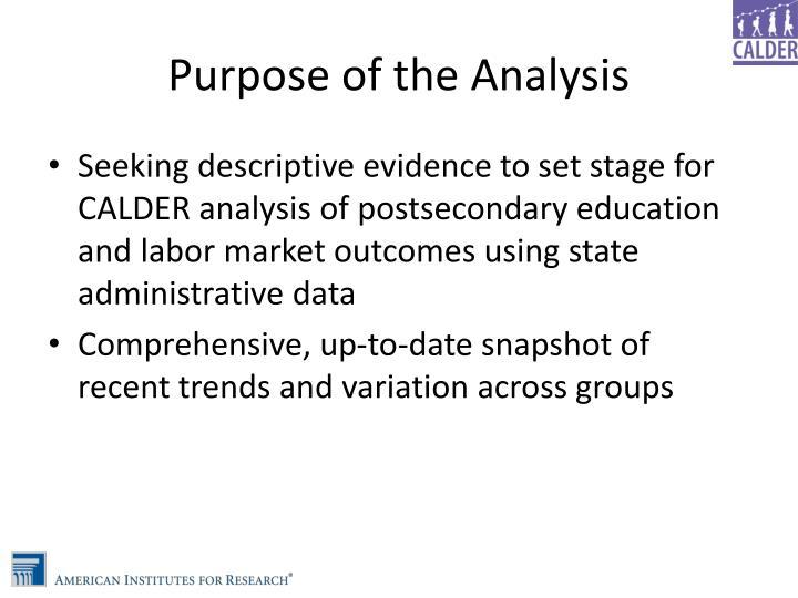Purpose of the Analysis