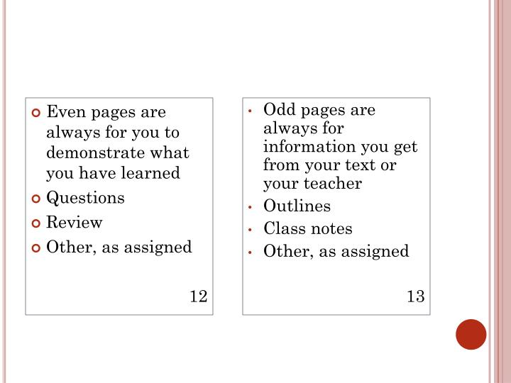 Even pages are always for you to demonstrate what you have learned