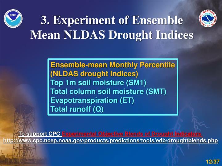 3. Experiment of Ensemble Mean NLDAS Drought Indices