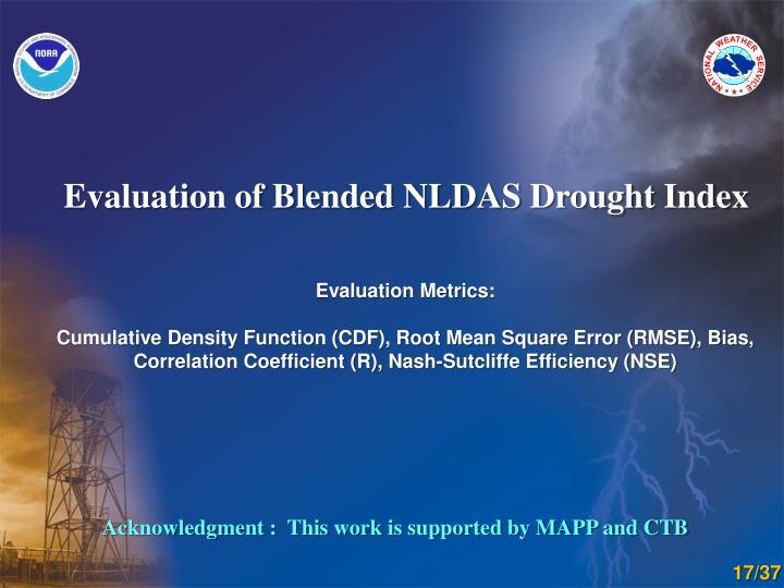 Evaluation of Blended NLDAS Drought Index