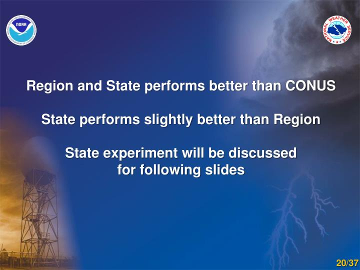 Region and State performs better than CONUS