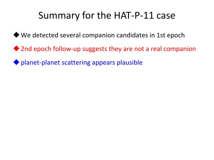 Summary for the HAT-P-11 case