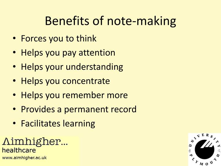 Benefits of note-making