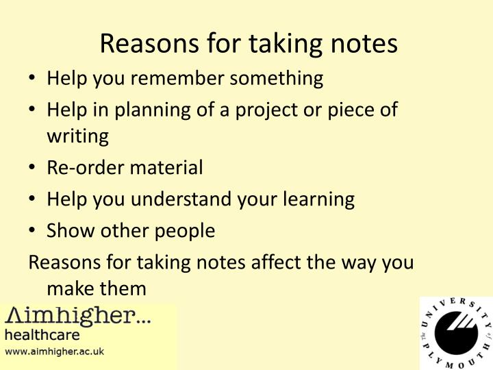 Reasons for taking notes