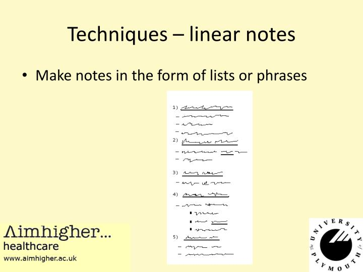 Techniques – linear notes
