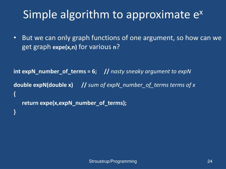 Simple algorithm to approximate e