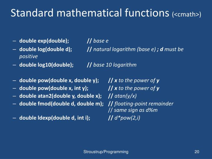 Standard mathematical functions