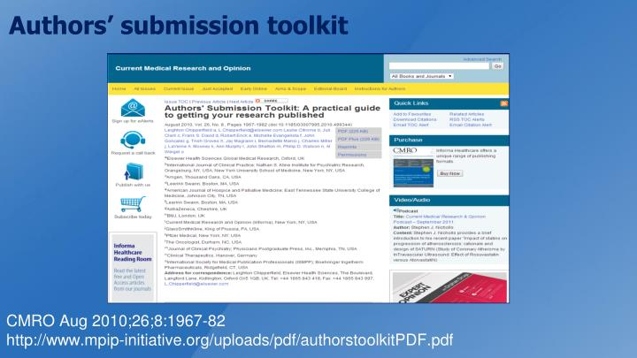 Authors' submission toolkit