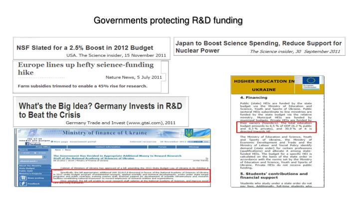 Governments protecting R&D funding