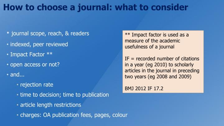 How to choose a journal: what to consider