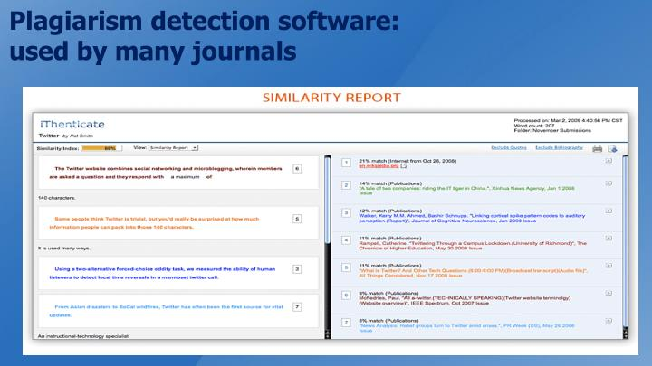 Plagiarism detection software: used by many journals
