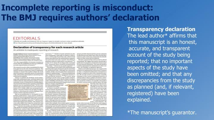 Incomplete reporting is misconduct: