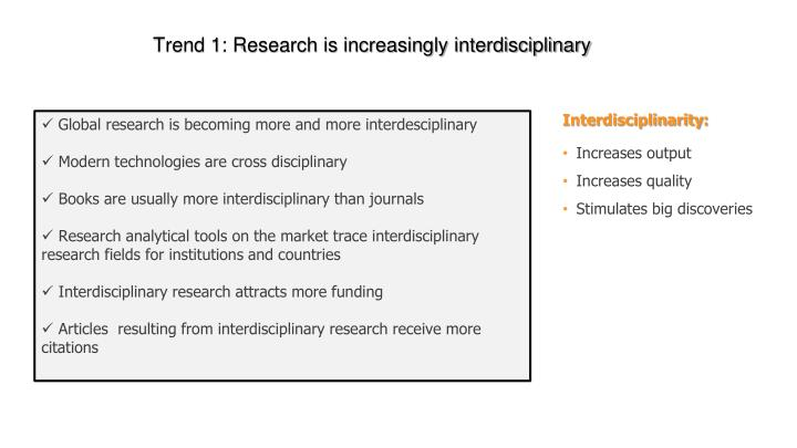 Trend 1: Research is increasingly interdisciplinary