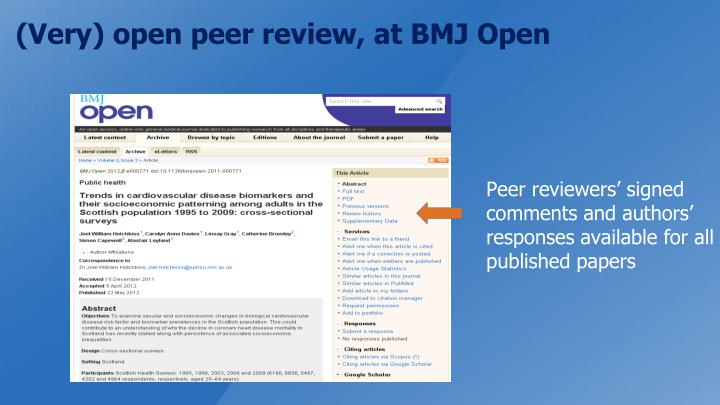 (Very) open peer review, at BMJ Open