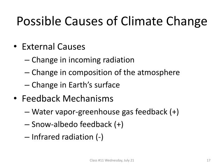 Possible Causes of Climate Change