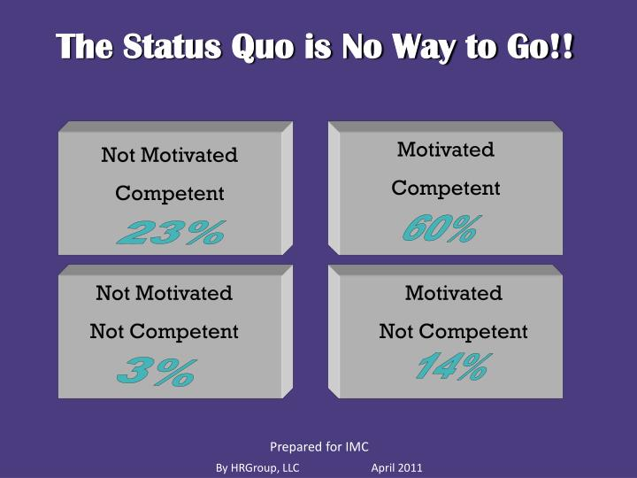 The Status Quo is No Way to Go!!