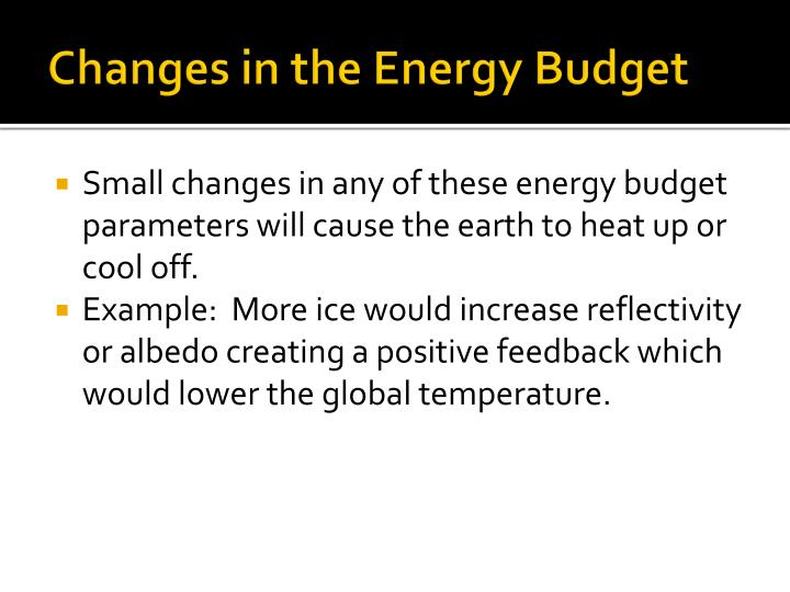 Changes in the Energy Budget