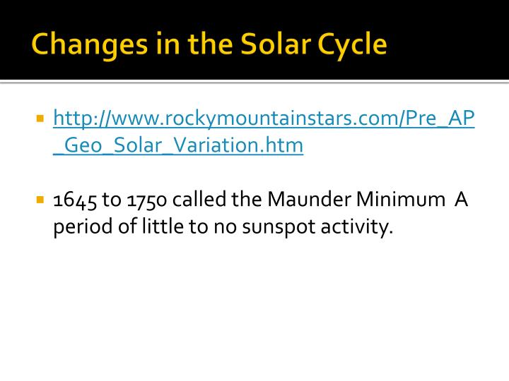 Changes in the Solar Cycle
