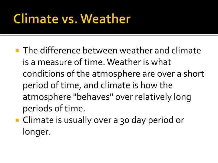 Climate vs. Weather