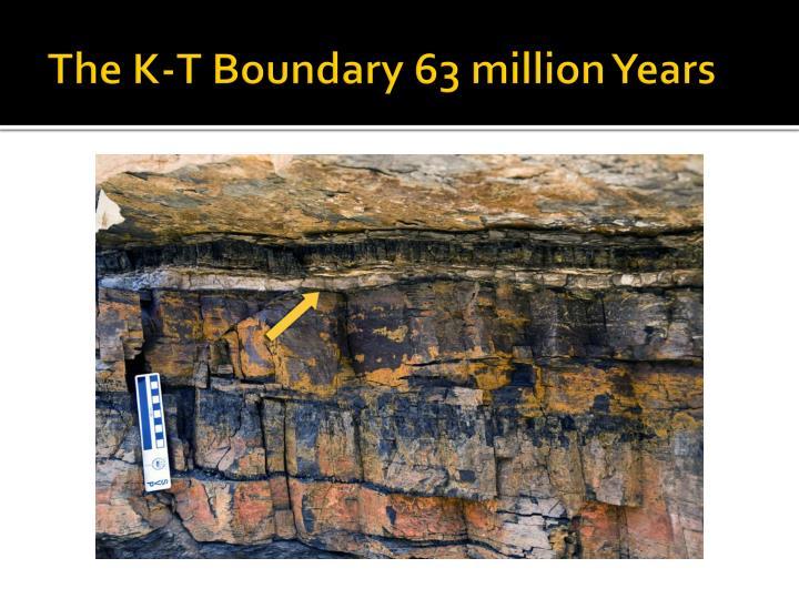 The K-T Boundary 63 million Years