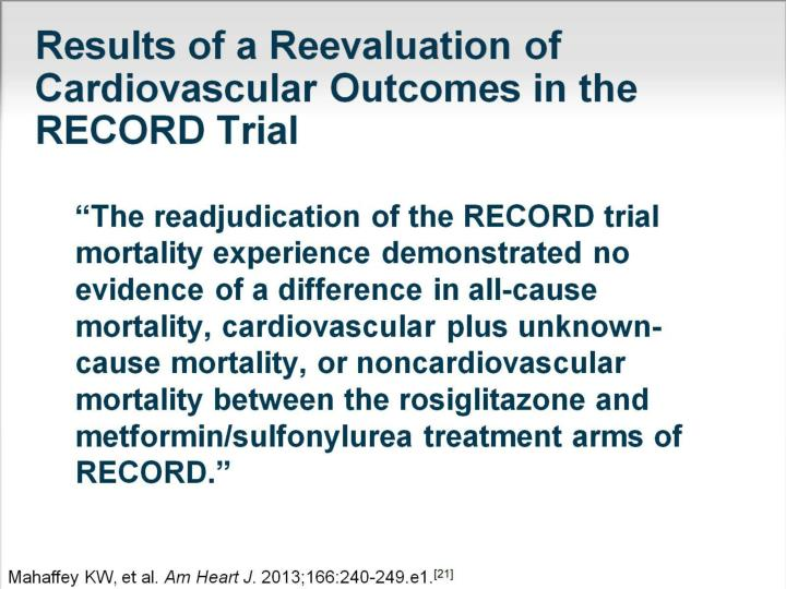 Results of a Reevaluation of Cardiovascular Outcomes in the RECORD Trial