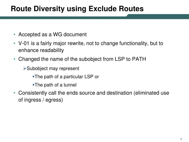 Route Diversity using Exclude Routes