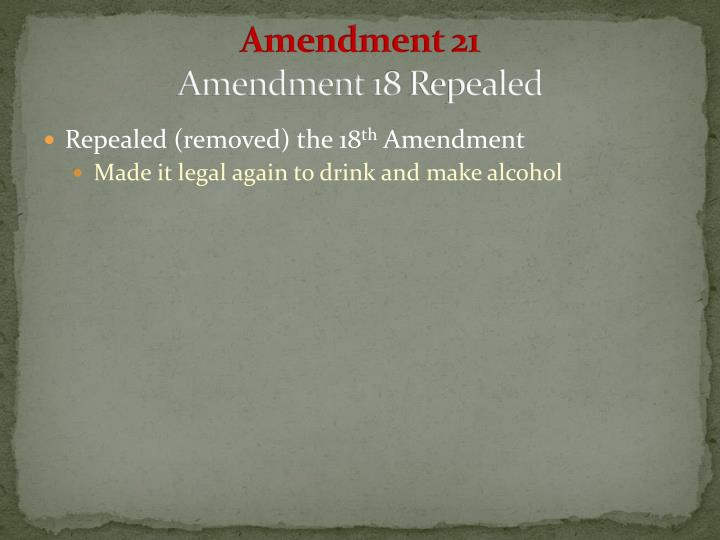 Amendment 21