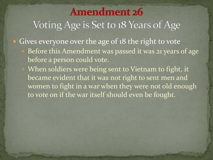 Amendment 26