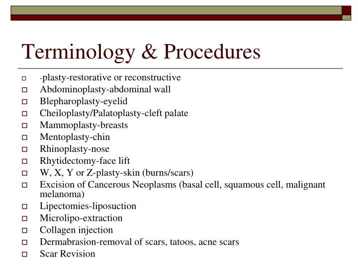 Terminology & Procedures