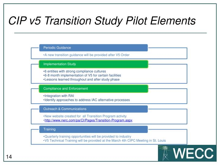 CIP v5 Transition Study Pilot Elements