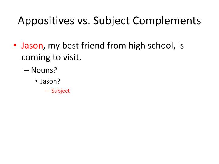 Appositives vs. Subject Complements