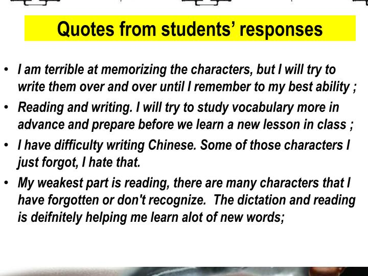 Quotes from students' responses