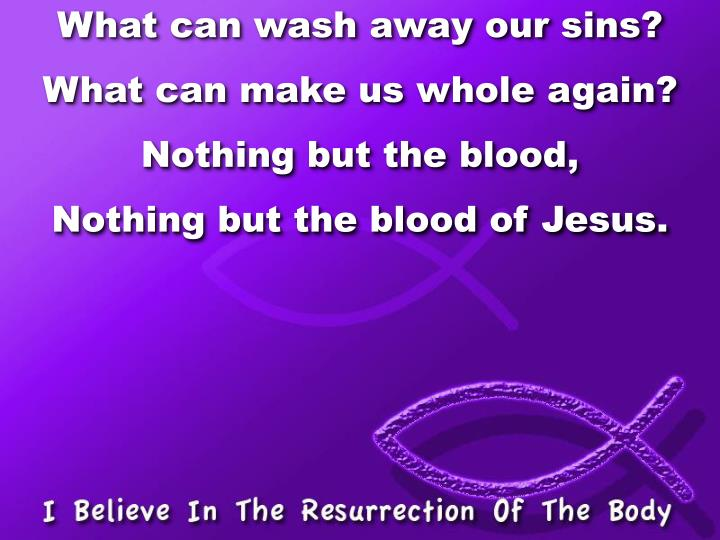 What can wash away our sins?