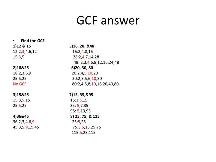 GCF answer