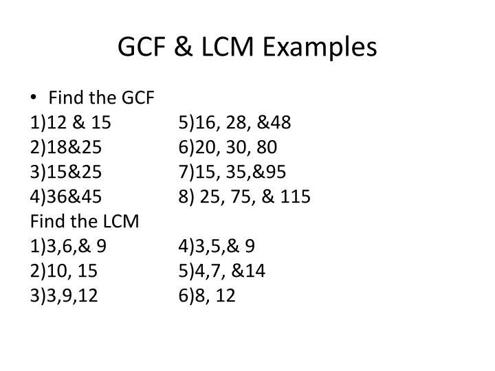 GCF & LCM Examples