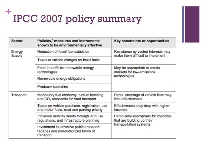 IPCC 2007 policy summary