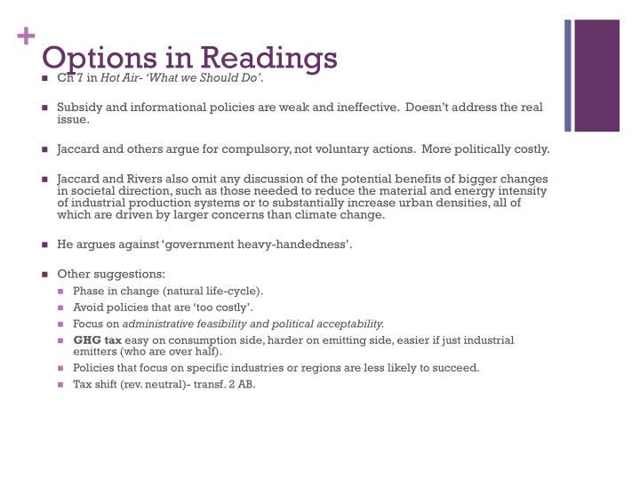 Options in Readings